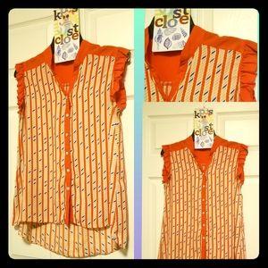 Orange sleeveless blouse size S/M